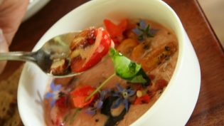 Tomato Yogurt with Almonds, Basil and Heirloom Cherry Tomatoes